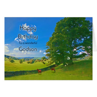 For Godson, a Pastoral landscape Birthday card
