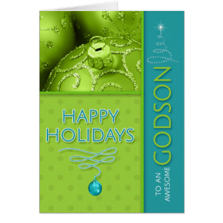 for Godson Green and Turquoise Modern Holiday Card