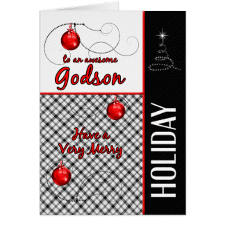 for Godson Sporty Plaid Holiday Greeting Card