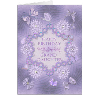 For granddaughter lilac birthday card with flowers