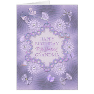 For grandma lilac birthday card with flowers