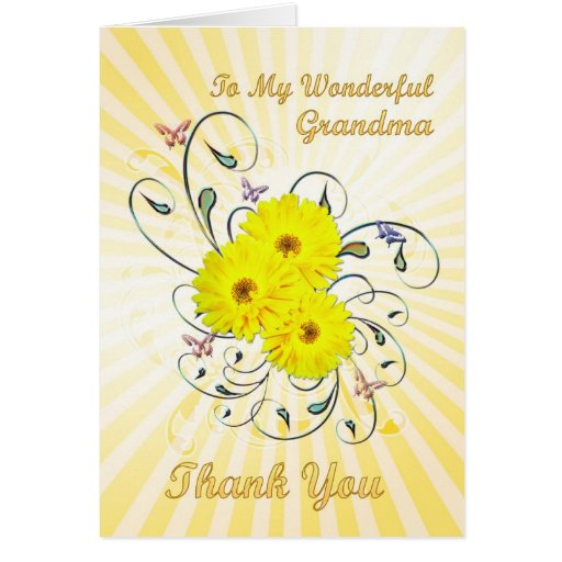 For grandma, Thank you card with yellow flowers