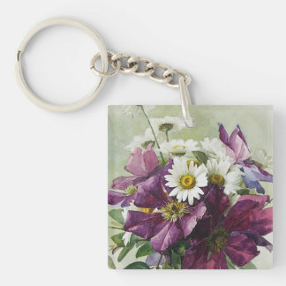 For Grandmother on Mother's Day Gift Keychains. Double-Sided Square Acrylic Key Ring