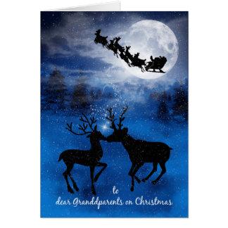 for Grandparents Kissing Reindeer Christmas Card