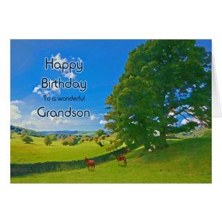 For Grandson, a Pastoral landscape Birthday card