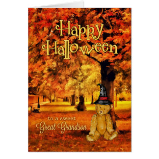 for Great Grandson | Halloween | Teddy Bear Witch Card