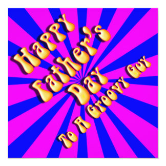 """For Groovy Guy  Retro Father's Day (Pink & Blue) 5.25"""" Square Invitation Card"""