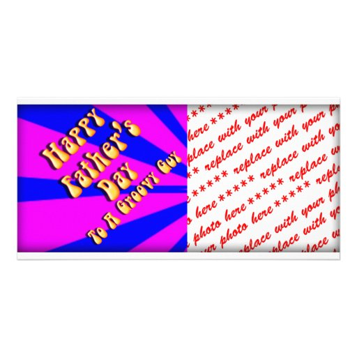 For Groovy Guy  Retro Father's Day (Pink & Blue) Custom Photo Card
