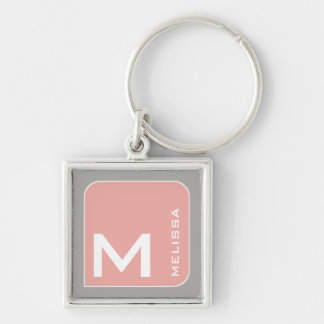 for her a modern pink square logo monogram key ring