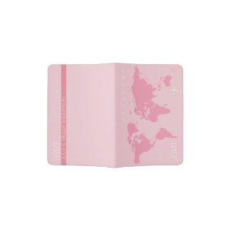 for her an elegant pale pink world map travel passport holder