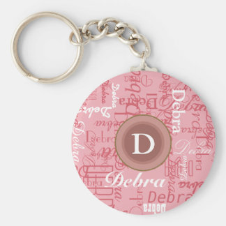 for her . personalized pink monogram key ring