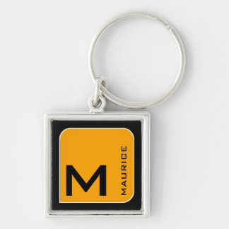 for him a modern yellow square logo monogram Silver-Colored square key ring