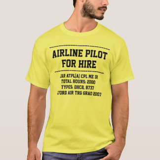 for hire pilot customise CV t-shirt