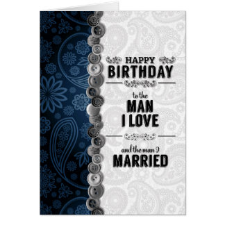 for Husband's Birthday Blue and Silver Paisley Greeting Card