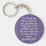 For I know the plans I have  - Jeremiah 29:11 Basic Round Button Key Ring