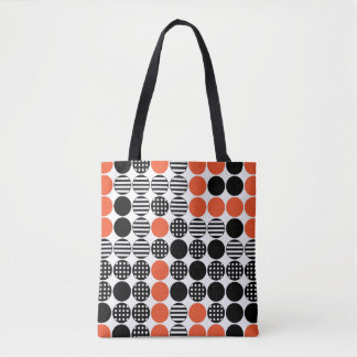 For In A Row - Dot Design - Black and Red Tote Bag