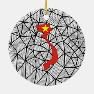 For Kids: Creative Vietnam Flag With Map Ceramic Ornament