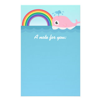 For kids - Cute Baby Pink Whale with Rainbow Stationery
