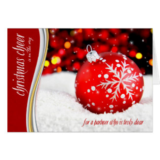 for Life Partner - Christmas Cheer - Red Snowflake Card