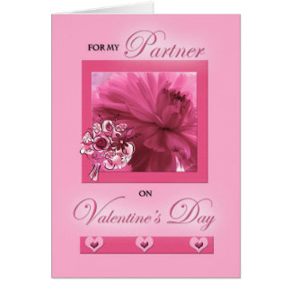 For Life Partner on Valentine's Day Pink Daisy Greeting Card