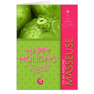 for Masseuse Christmas Hot Pink and Lime Green Card