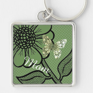 For Mom Mint And White Daisy Butterfly Keyring