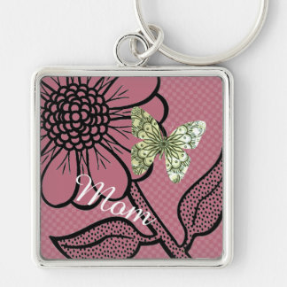 For Mom Pink And White Daisy Butterfly Keyring