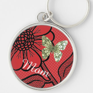 For Mom Red And White Daisy Butterfly Keyring