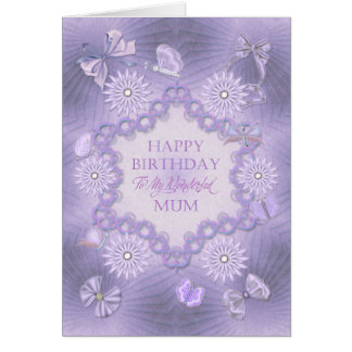 For mum dreamy lilac birthday card with flowers