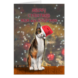 For mum & stepdad a cat in a Christmas hat Greeting Card