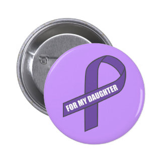 For My Daughter (Purple Ribbon) 6 Cm Round Badge