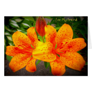 For My Friend Lilies Blank Notecard Note Card