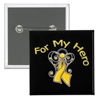For My Hero Angel Ribbon Childhood Cancer Pinback Buttons