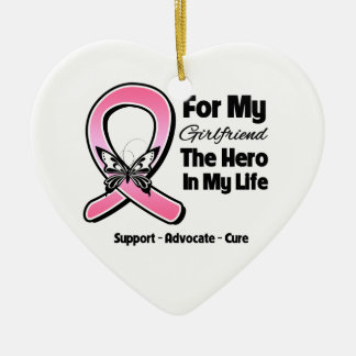 For My Hero My Girlfriend Breast Cancer Ceramic Heart Decoration