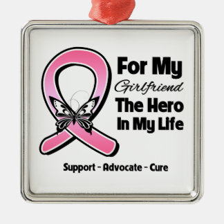 For My Hero My Girlfriend Breast Cancer Christmas Ornament