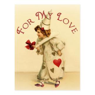 For My Love Vintage Valentine Postcard