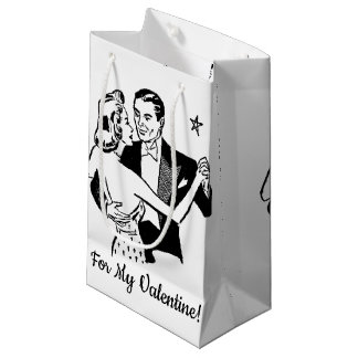 """""""For My Valentine!"""" Retro Valentines Dancers Small Gift Bag"""