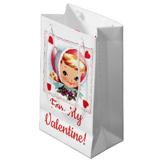 """For My Valentine!"" Retro Valentines Girl/Hearts Small Gift Bag"