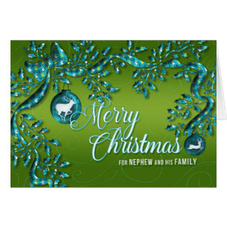 for Nephew and Family Green Turquoise Christmas Card