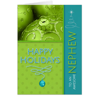 for Nephew Green and Turqoise Blue Modern Holiday Card