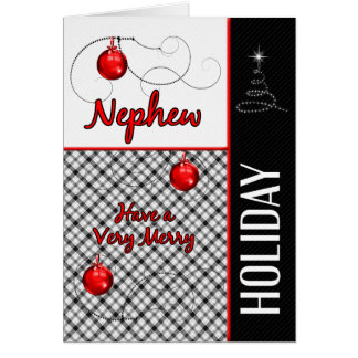 for Nephew Red, Black and White Holiday Card