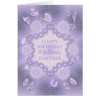 For partner lilac birthday card with flowers
