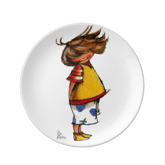 For Porcelain plate to shy preatty girl in the