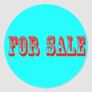 FOR SALE 2 RED ON BLUE ROUND STICKERS
