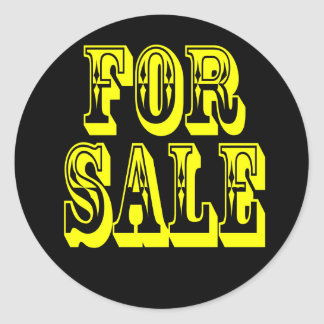 FOR SALE 2 YELLOW ON BLACK ROUND STICKERS