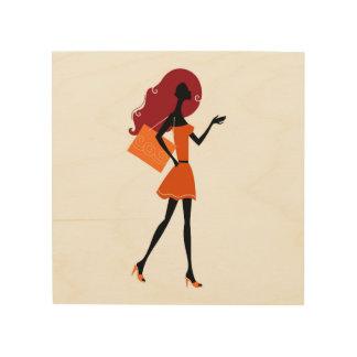 For shop / boutique : Original vintage girl Wood Wall Art