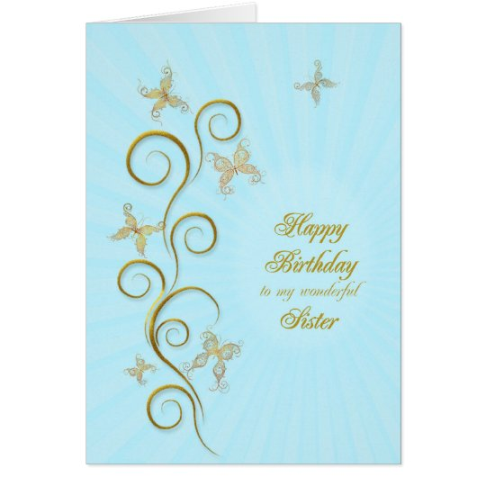 For sister, Birthday with golden butterflies Card