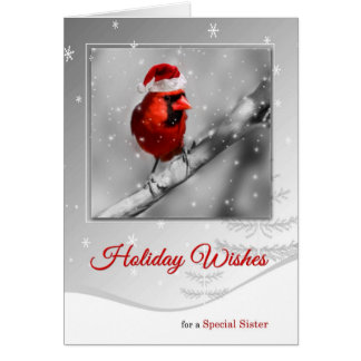 for Sister Christmas Woodland Red Cardinals Card