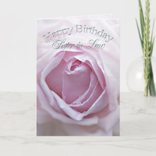 For Sister In Law Birthday Card With A Pink Rose
