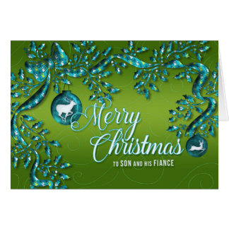 for Son and His Fiance Green Turquoise Christmas Card
